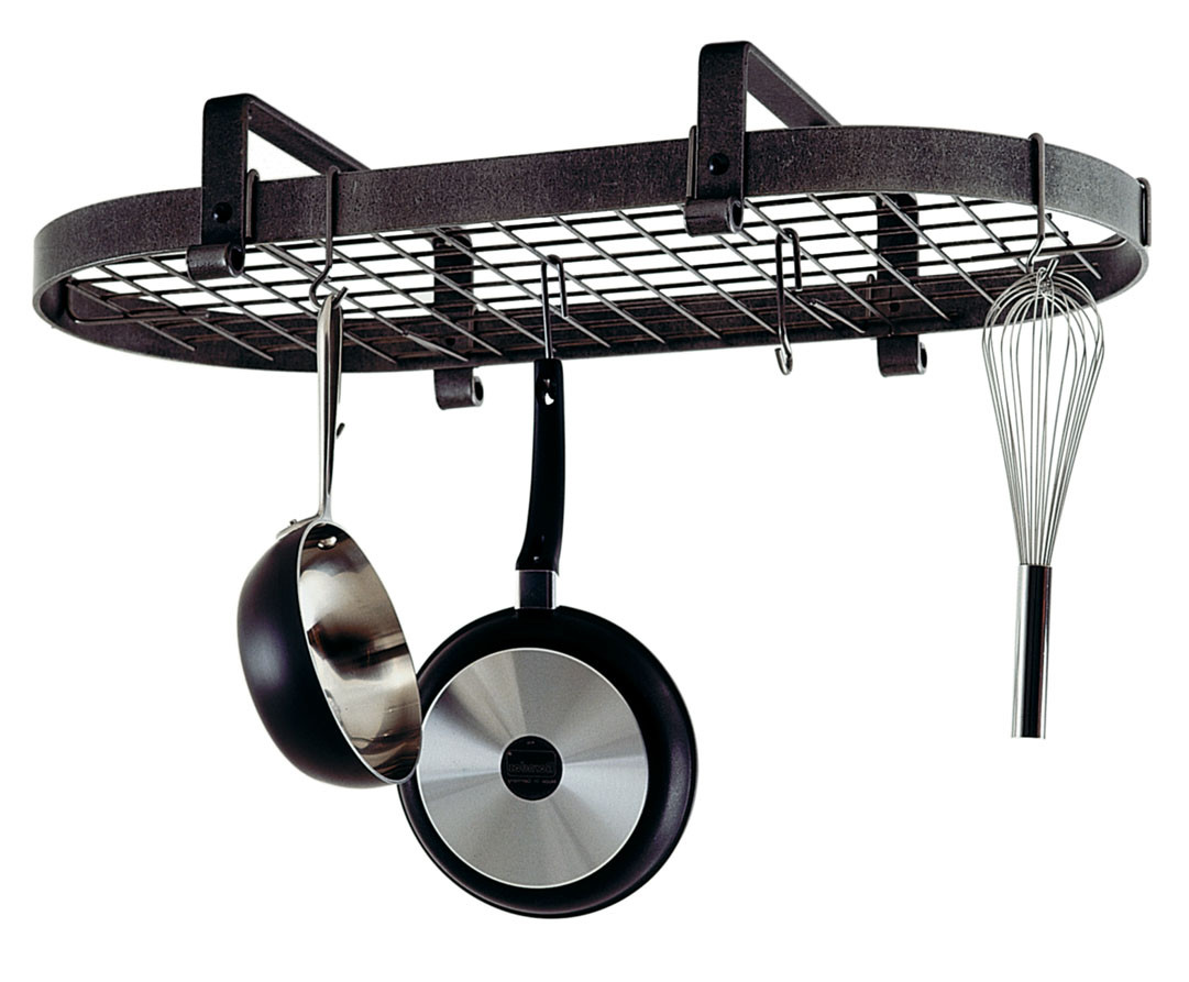 Enclume Low Ceiling Oval Rack with Grid in Hammered Steel