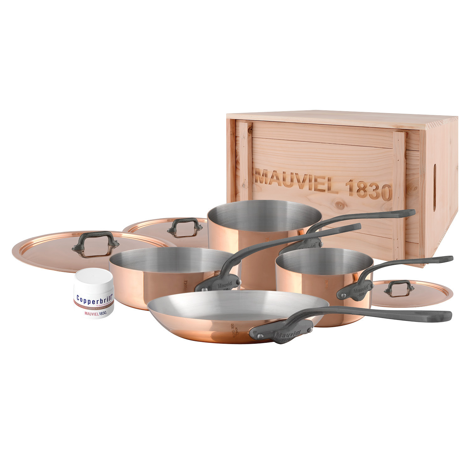 M'150c2 - 7 pc. Copper Set - 1.5mm  S.S. Interior Cast Iron Handles in a Wood Crate