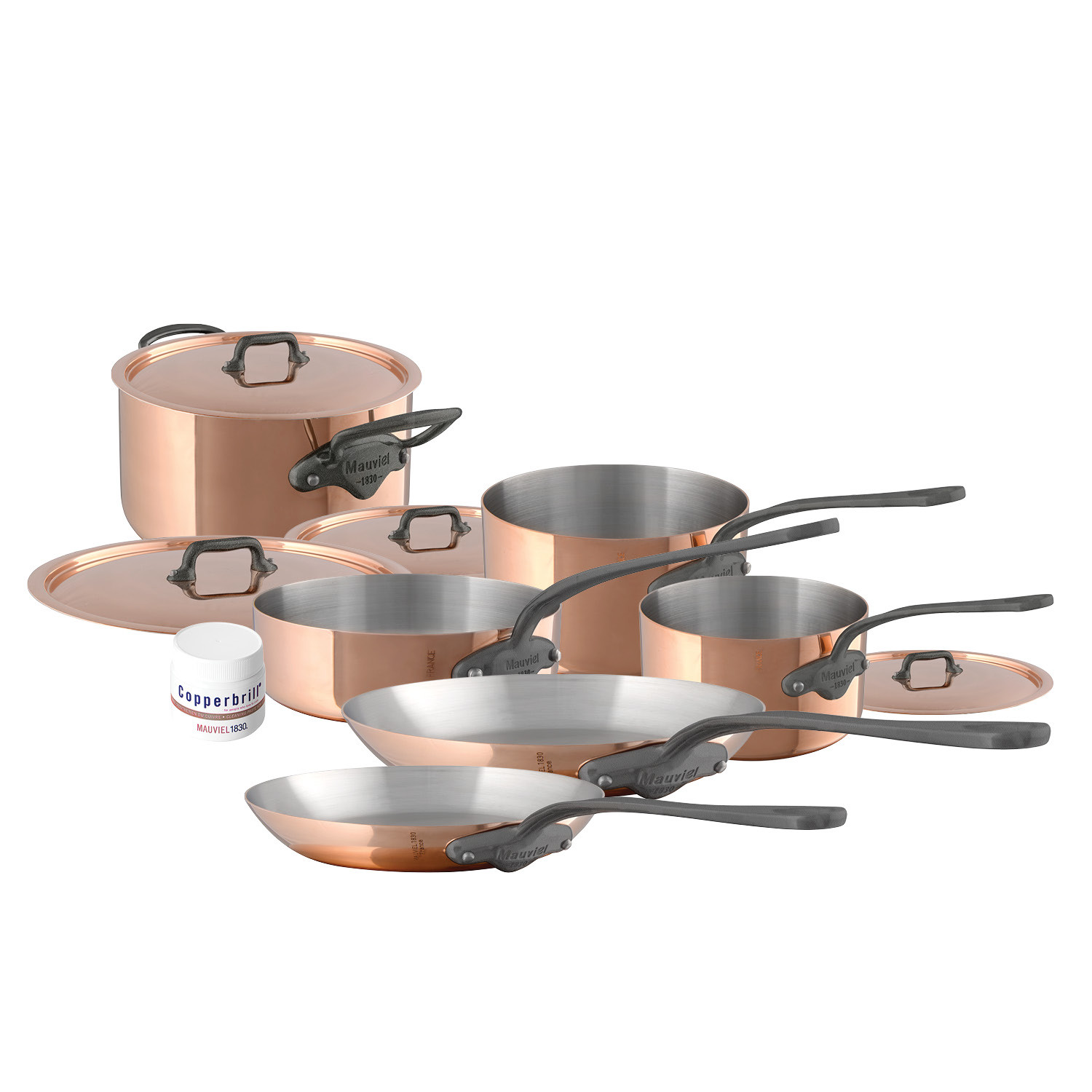 M'150c2 - 10 pc. Copper Set - 1.5mm  S.S. Interior Cast Iron Handles