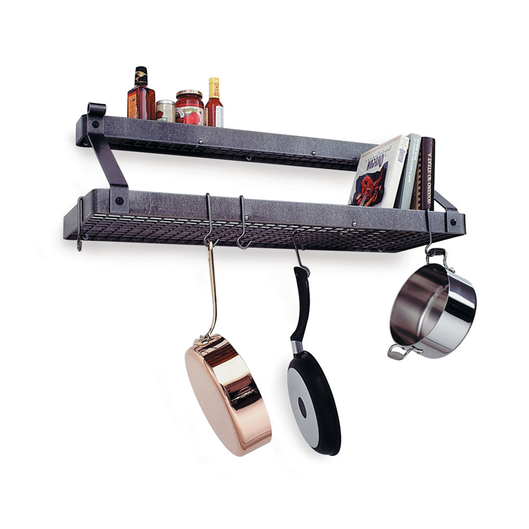 Enclume Deep Bookshelf Rack with Shelf in Hammered Steel
