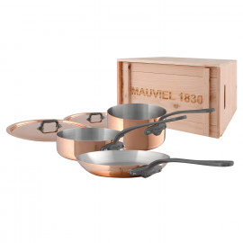 M'150c2 - 5 pc. Copper Set - 1.5mm  S.S. Interior with Cast Iron Handles in a Wood Crate