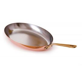 "M150b - Mauviel Oval Frying Pan Bronze Handle- 13.5"""