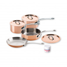 Mauviel M'150s - 7 pc. Copper Set - 1.5mm  S.S. Interior Cast Stainless Steel Handles